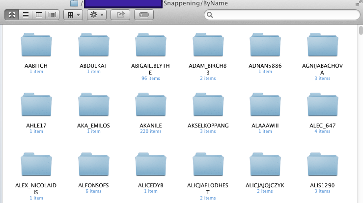 "A screenshot provided by an Ars reader of folders of Snapchat photos from the ""Snappening"" file torrent, organized by user name."
