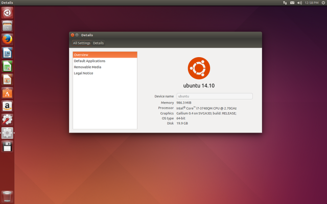 The default desktop of Ubuntu 14.10, Utopic Unicorn.