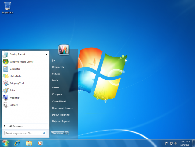 As a reminder, here's what the default Start menu looked like in Windows 7.