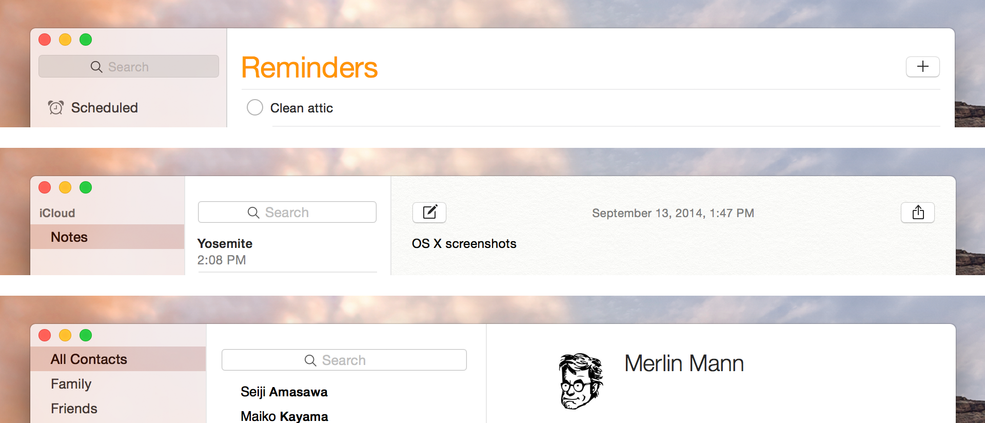 """Invisible"" title bar examples, from top to bottom: Reminders, Notes, Contacts."