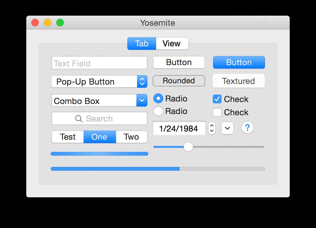 Yosemite standard controls.