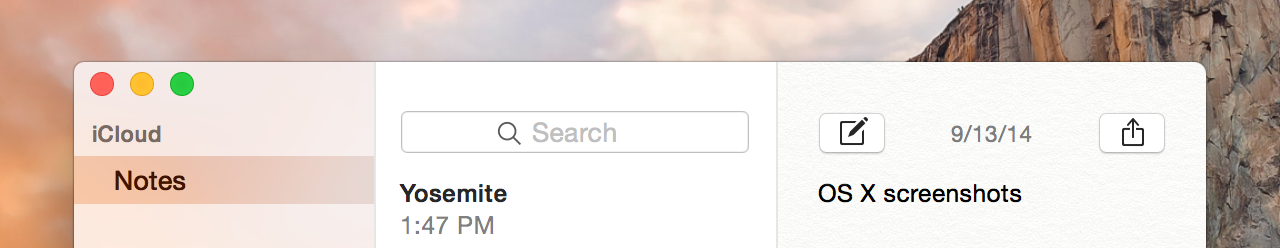 Notes in Yosemite has no title bar or window title at all.