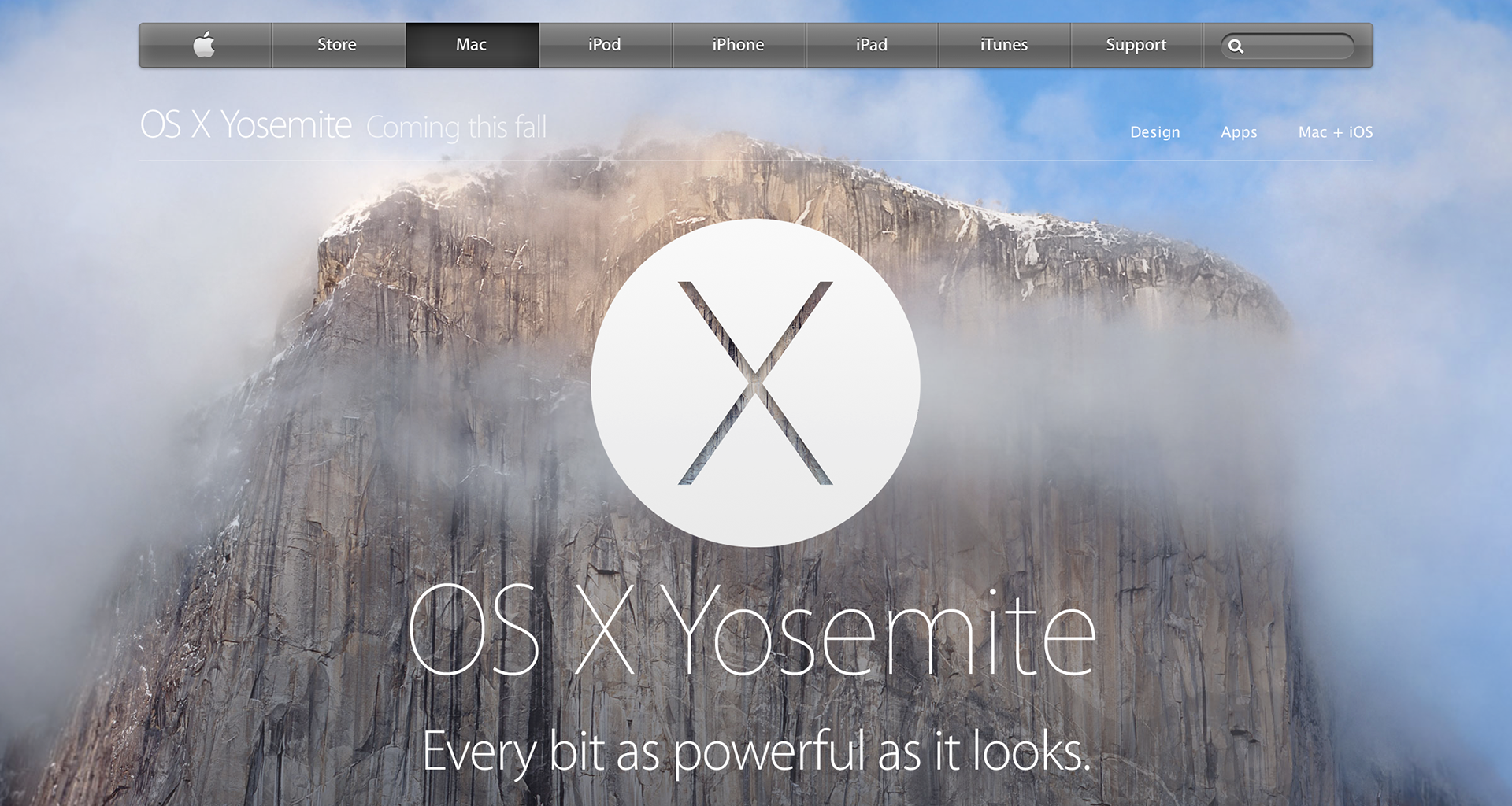 Apple's Yosemite website: startlingly thin text and a wall of granite seen through a haze.