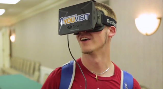 A potential student takes a virtual campus tour using a YouVisit-branded Oculus Rift headset.