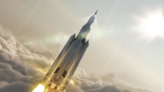 "Artist's conception of NASA's SLS rocket at launch. Detractors of the long-running program jokingly refer to it as the ""Senate Launch System"" due to the government's spreading of SLS-related contracts through influential senators' and congresspersons' constituencies."