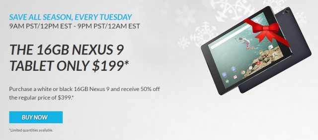A day after launch, HTC sold the Nexus 9 for 50% off