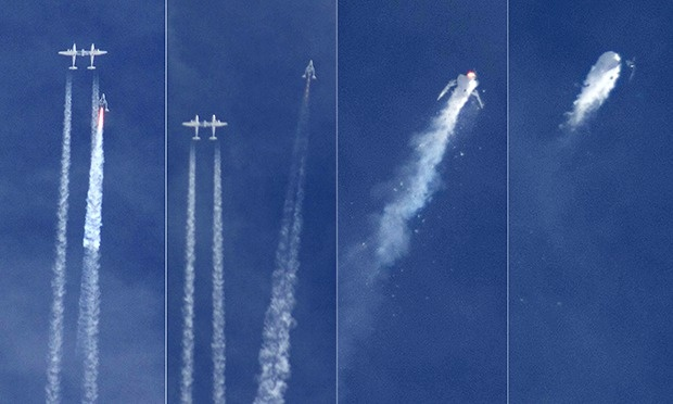 Ground imagery showing the destruction of SpaceShipTwo.