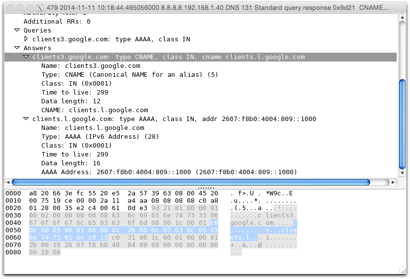 A typical DNS query made while surfing the Web, captured in Wireshark.