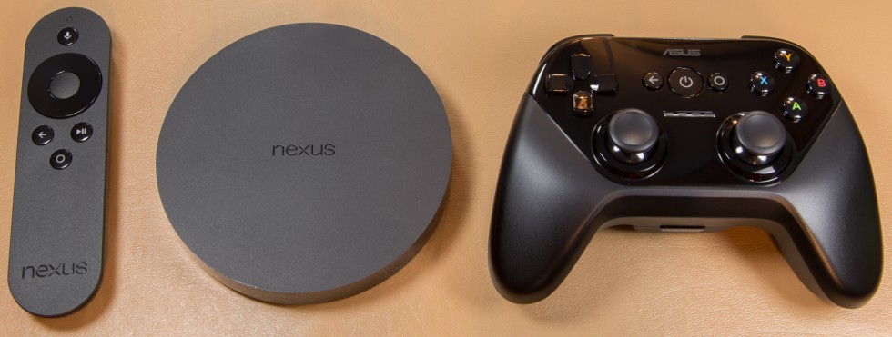 The Nexus Player remote, box, and controller.