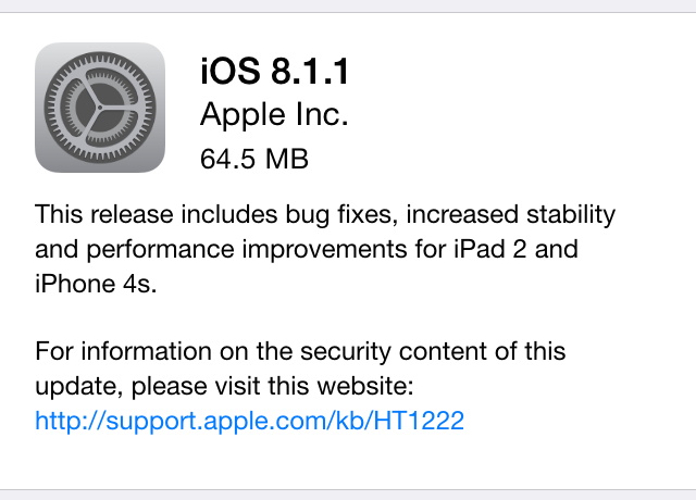 Apple releases iOS 8.1.1 to fix bugs and speed up older devices