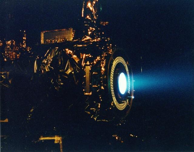An Ion engine test firing.