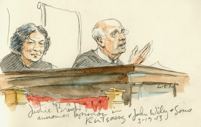 Courtroom art of Justice Breyer announcing the decision in <i>Kirtsaeng.</i>