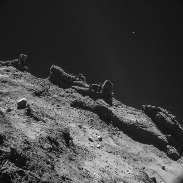 The jagged surface of the comet, as imaged by Rosetta.