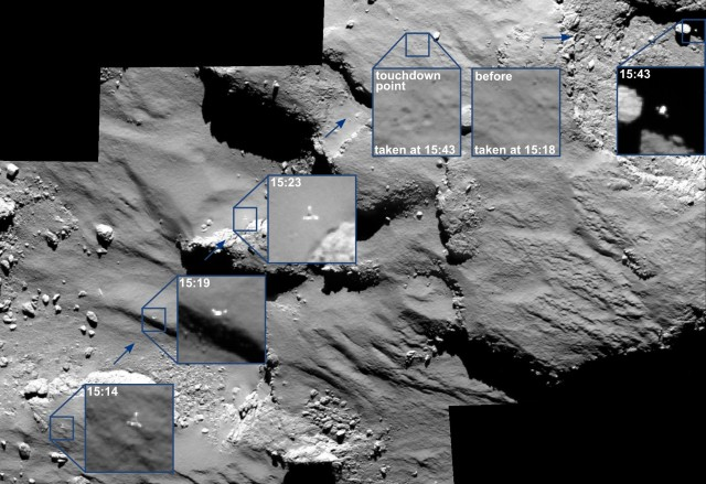 A mosaic assembled by ESA scientists showing Philae's first bounce across Comet 67P.