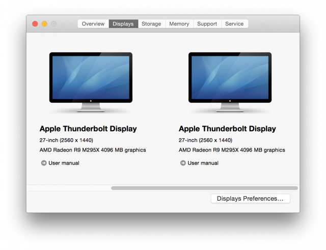 "The Retina iMac's ""About This Mac"" function, showing the pair of external monitors attached via Thunderbolt."