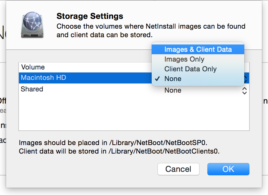 Before you can enable the NetInstall service, you'll have to give it a place to store images and other data.