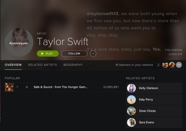 Swift's now-empty Spotify profile, with 2 million followers.