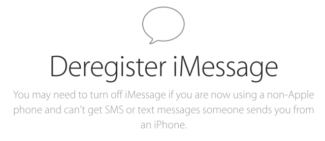 New Apple support page will deactivate iMessage for your phone number