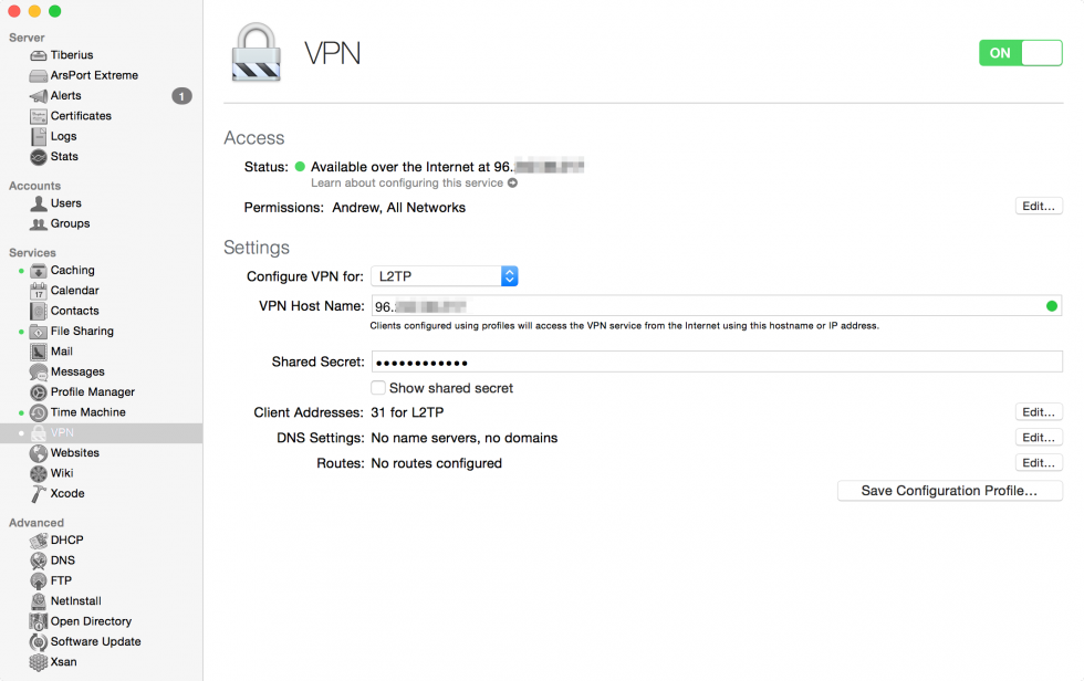 With proper port forwarding, OS X Server's VPN service provides a fairly cheap, easy way to set up your own VPN server.