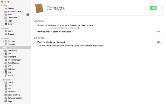 Contacts is simple—its main job is to populate the Contacts app with information from your directory.
