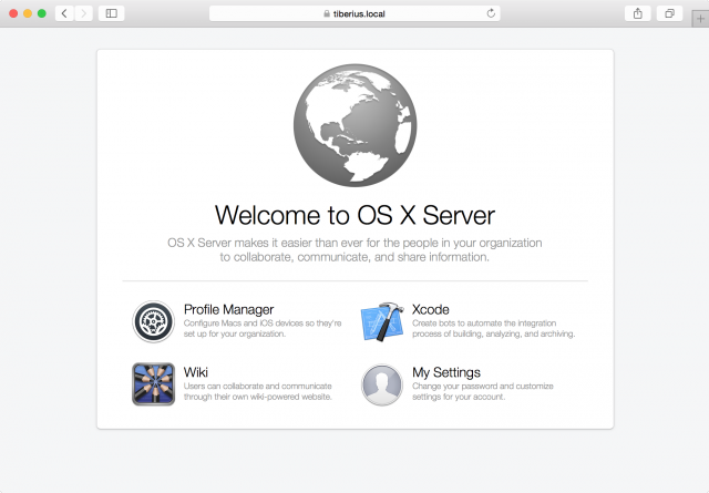 The OS X Server landing page is available once you turn the Websites service on.