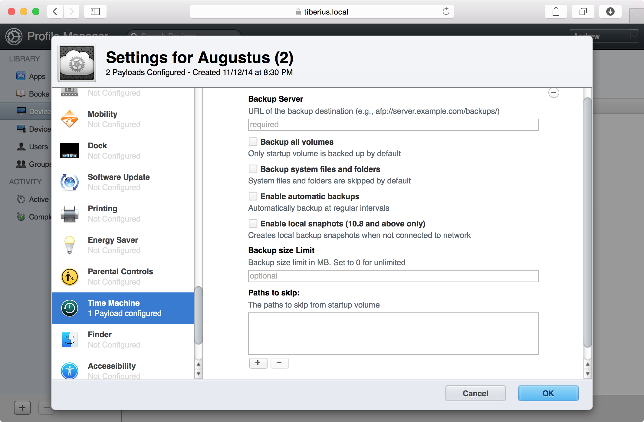 If you need more flexible backups, consider using Profile Manager rather than the Time Machine service itself.