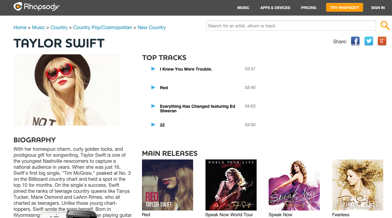 Swift's home on Rhapsody, which, notable, does not include the latest album, <em>1989</em>.
