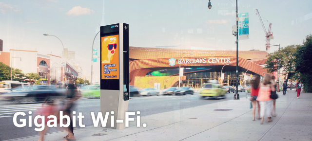One of the LinkNYC booths that will bring free Wi-Fi to New York's streets.