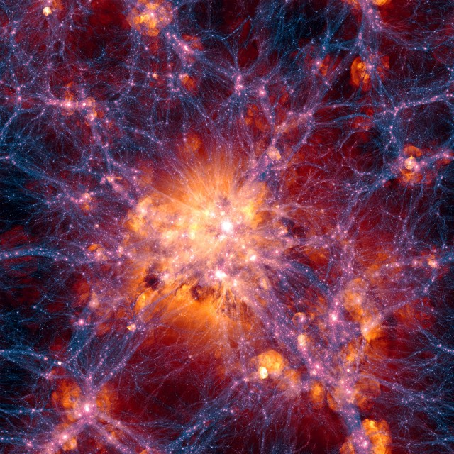 This very detailed simulation of large scale structure was created aspart of the Illustris simulation. The distribution of dark matter isshown in blue and the gas distribution in orange. This simulation is for the current state of the Universe and is centered on a massive galaxycluster. The region shown is about 300 million light-years across.