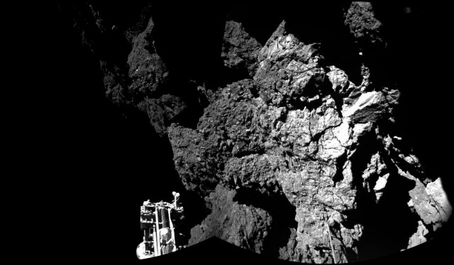 A view of the landing site from Philae's CIVA camera.