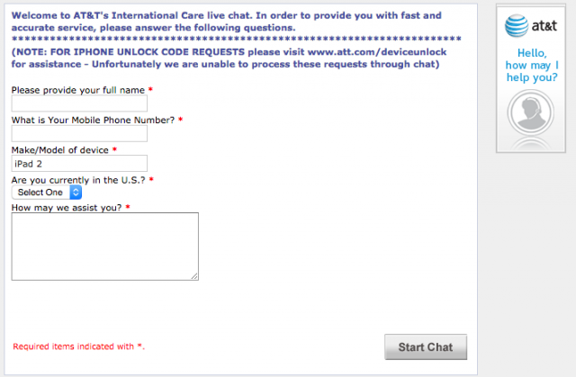 You will not be unlocking your AT&T device via live chat.