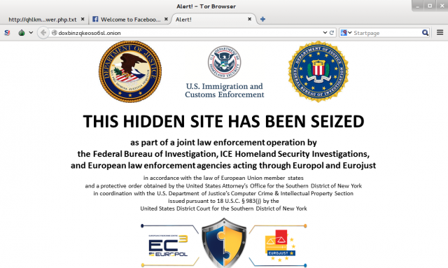 The FBI-ICE-Europol seizure page greeted users to Doxbin's main .onion page. Doxbin wasn't named in the Justice Department's filings, and no explanation of the seizure has been given.
