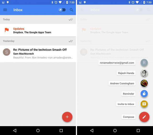The Floating Action Button in Google Inbox, which expands to show recent contacts and other options.