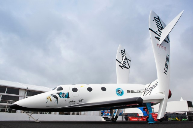 A SpaceShipTwo mockup, showing the craft in feathered re-entry configuration.