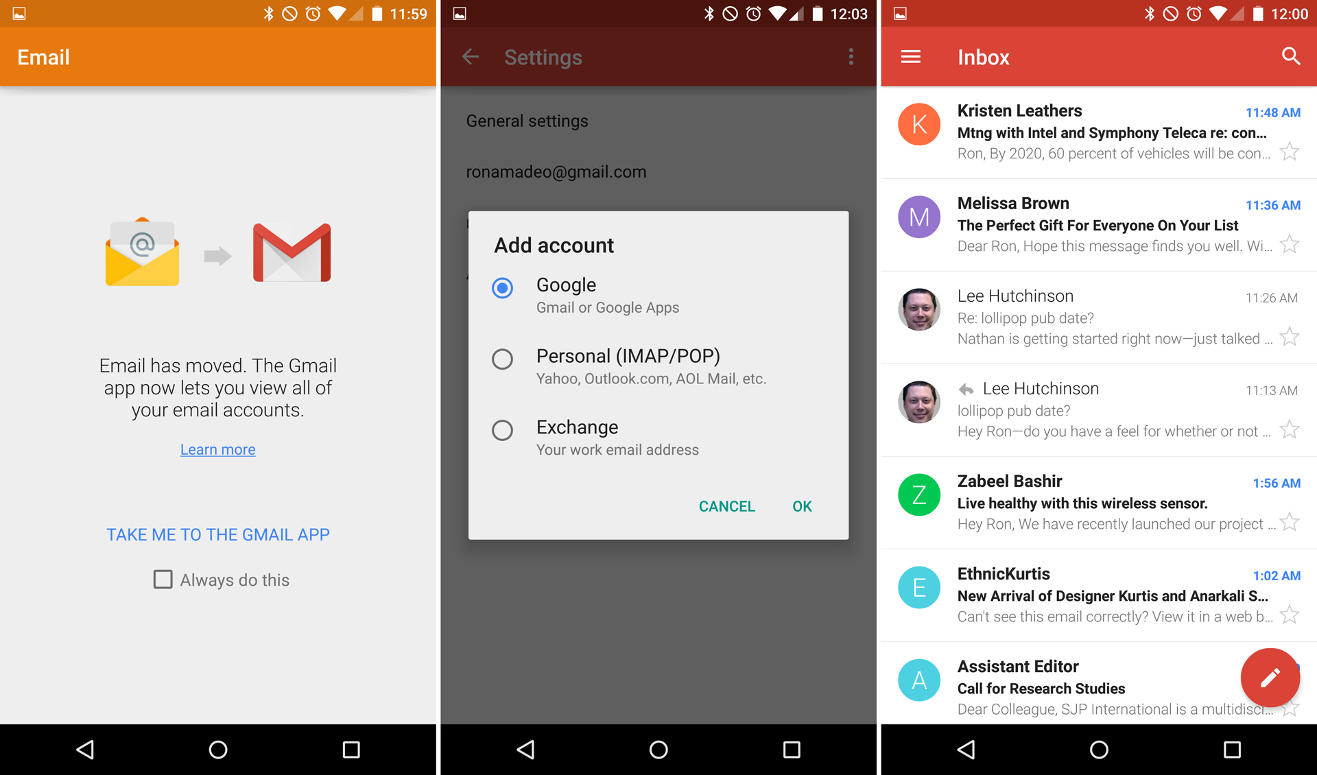 "The only remaining screen of the ""Email"" app, Gmail showing exchange mail, and the Gmail inbox."