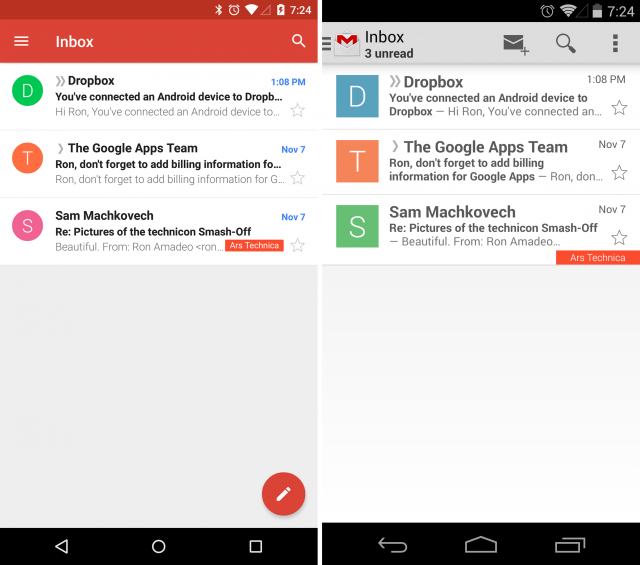 Gmail 5.0 (left) versus Gmail 4.x (right). It's more colorful!