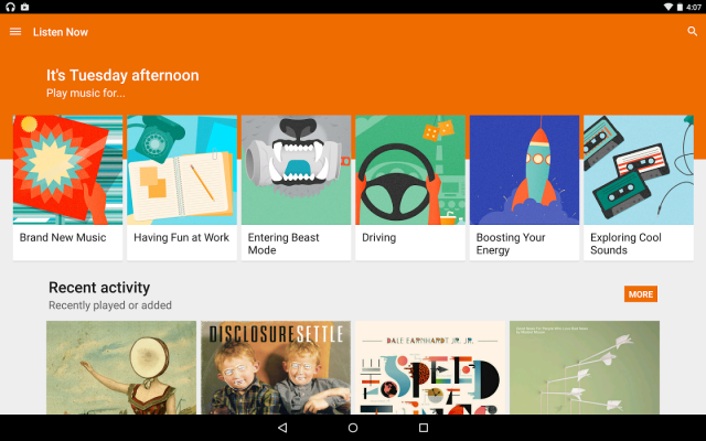 Google Play Music on Android.