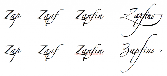 Above: the default Zapfino glyphs. Below: glyph variants selected manually.