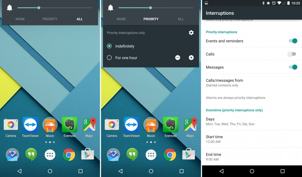 The volume controls, the expanded notification controls, and the priority notification settings.