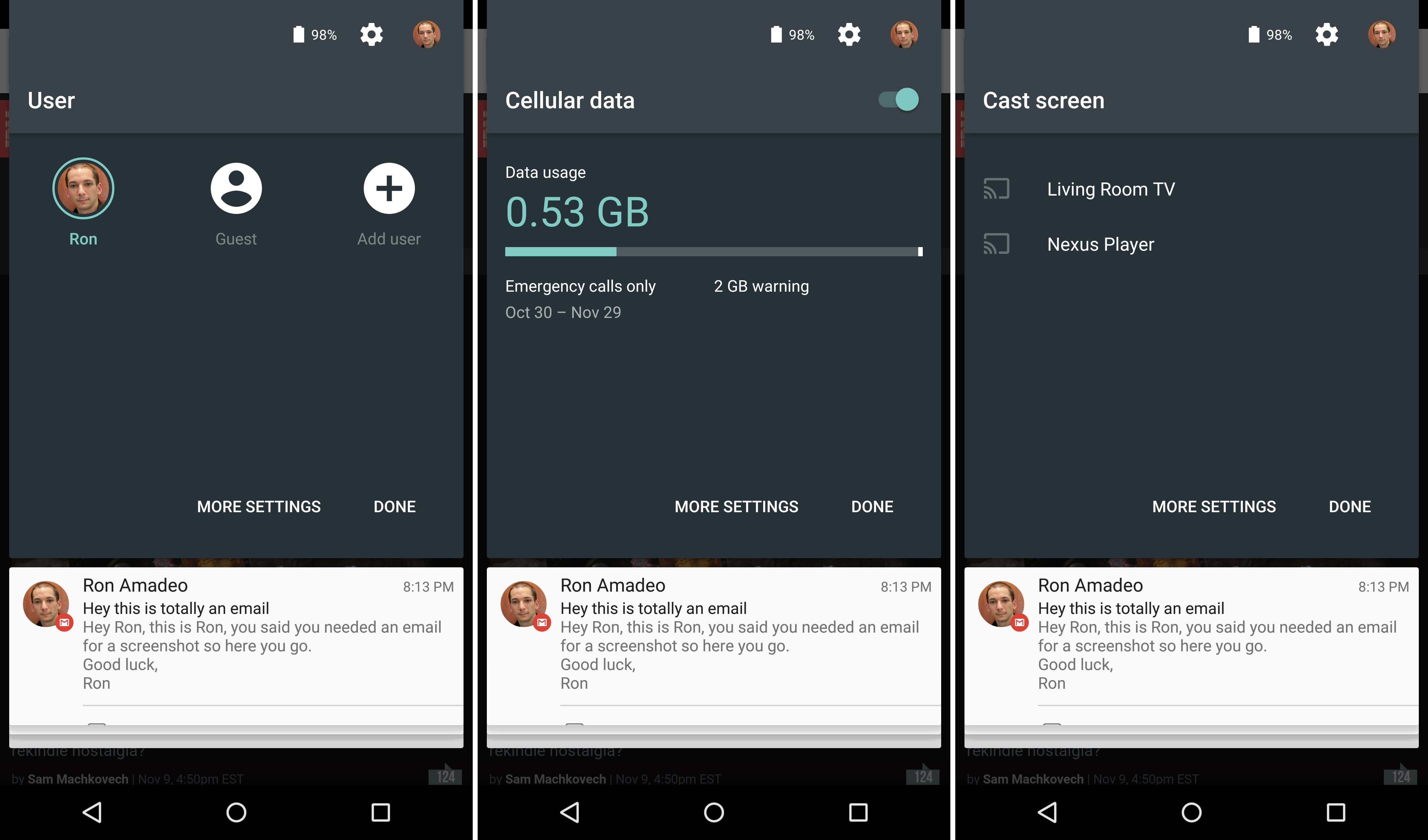 Quick settings panels for user switching, data usage, and screen casting.