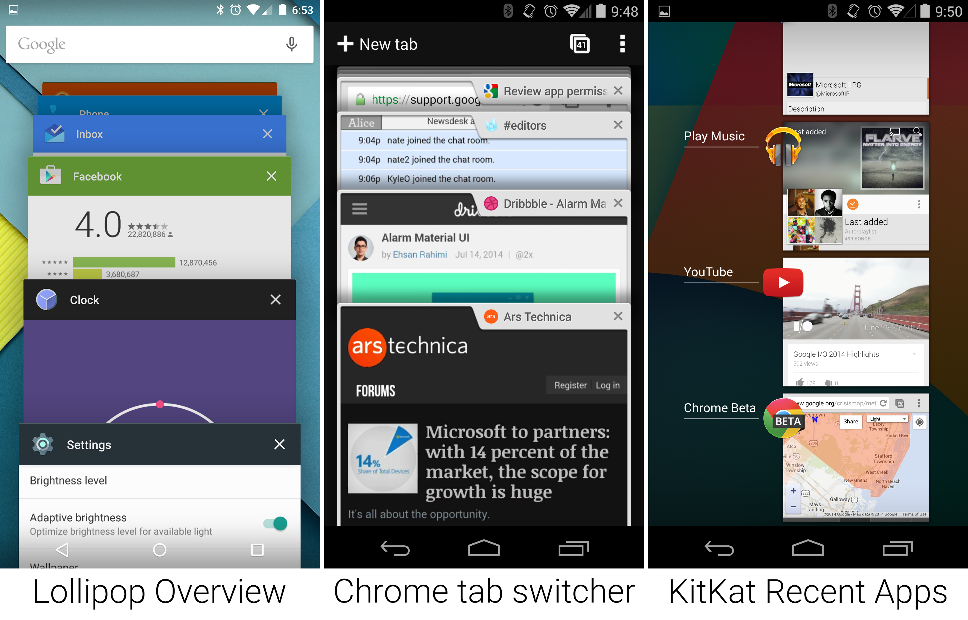 The new Recent Apps screen, which has clearly been inspired by Chrome's tab switcher.