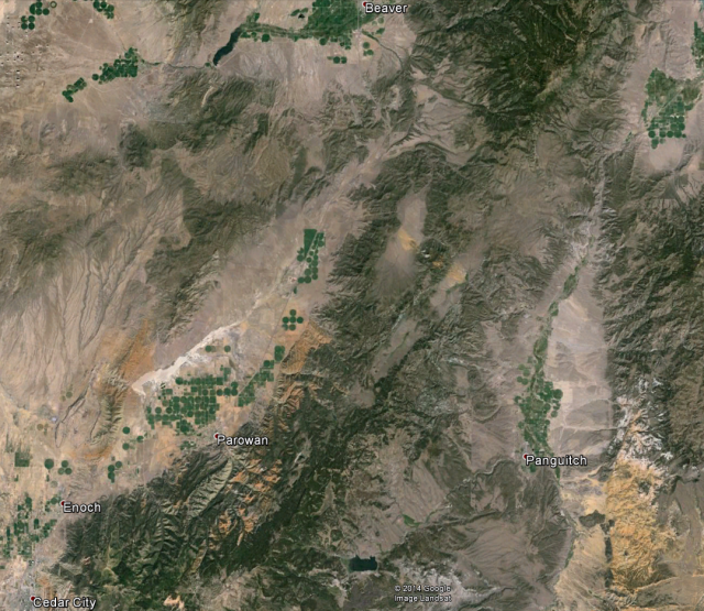 The Markagrunt gravity slide in Utah includes most of the area between Beaver, Cedar City, and Panguitch.