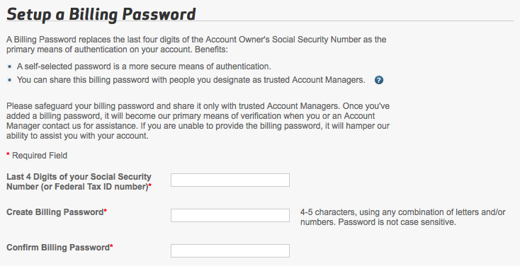 Setting up a billing password in Verizon account settings.