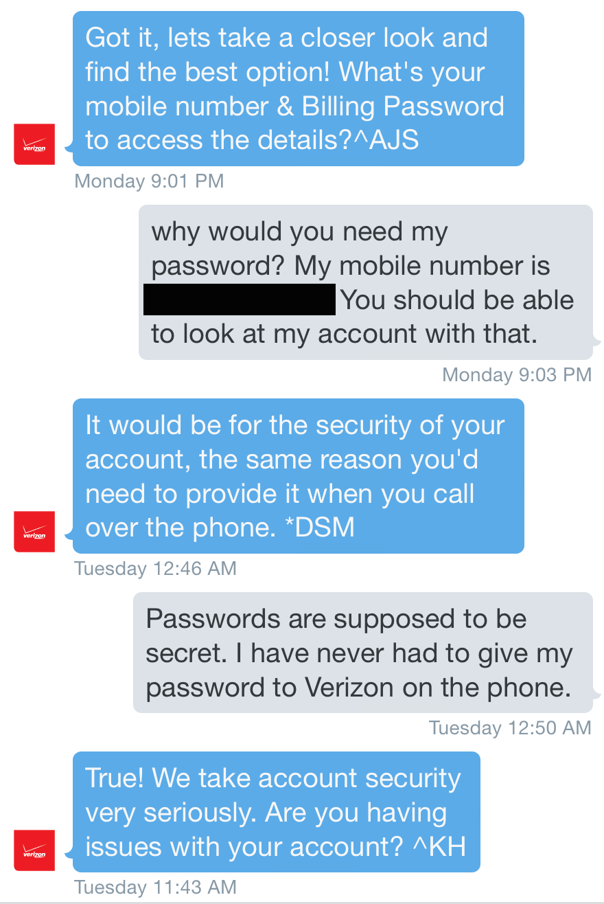 Verizon contacted me on Twitter and asked for my billing