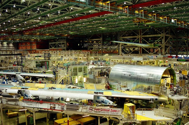747s under construction at Boeing's Everett facility.