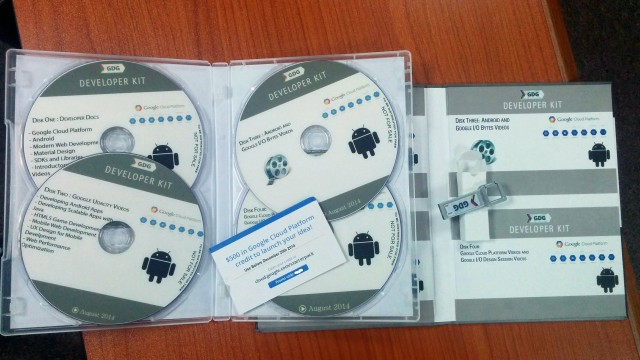 The Android Developer Kit pressed into plastic disks.
