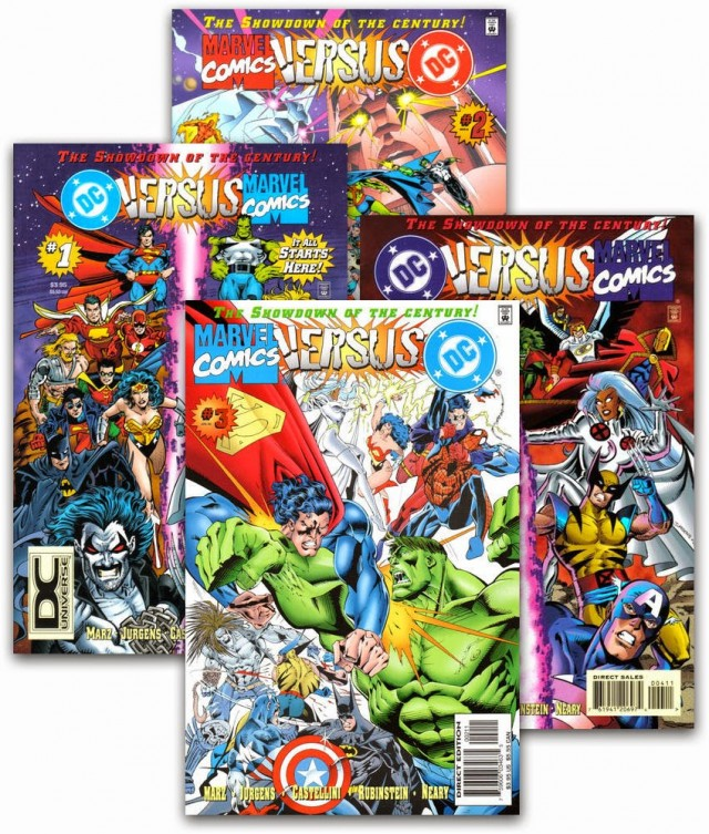 Presented in DC Versus Marvel/Marvel versus DC #1 - 4, 1996. Written by Ron Marz and Peter David. Penciled by Dan Jurgens and Claudio Castellini. Inks by Josef Rubinstein and Paul Neary.