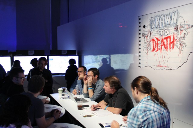 David Jaffe (second from right) and the other developers speak to PSX fans about their first taste of new game Drawn to Death.