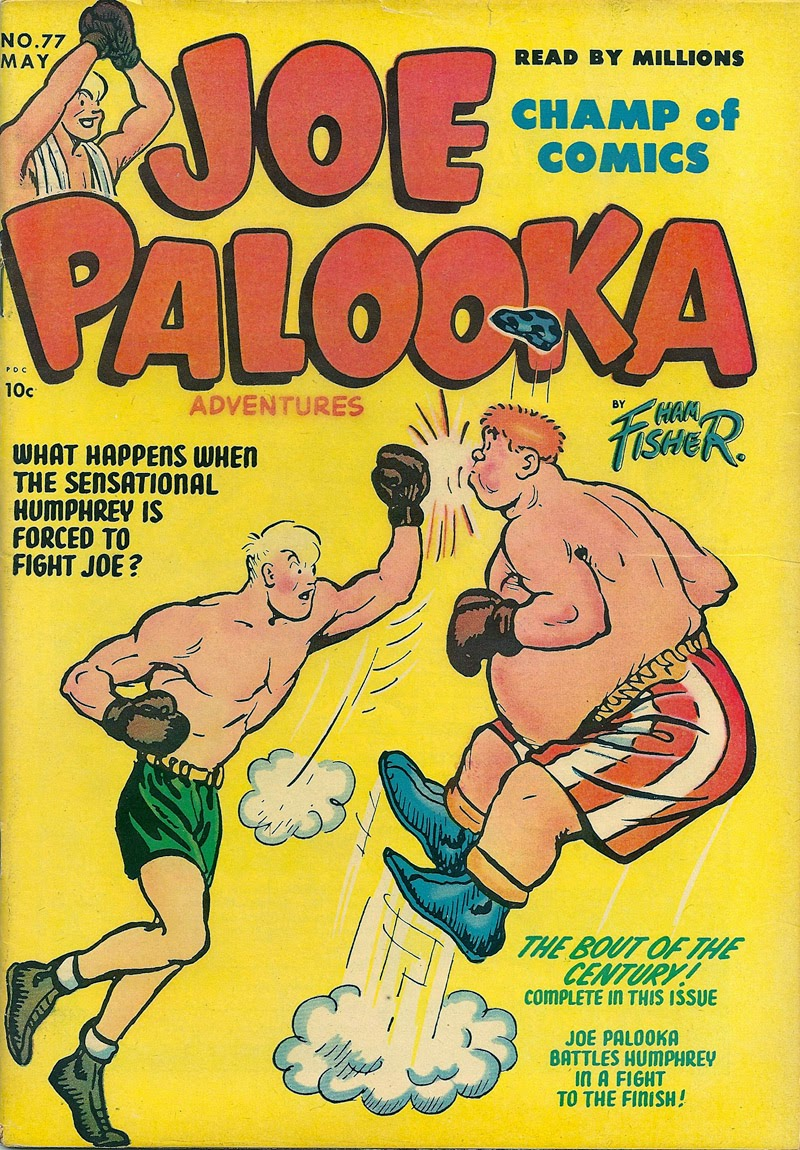 First presented in Joe Palooka #77, 1953. Written and drawn by Ham Fisher.