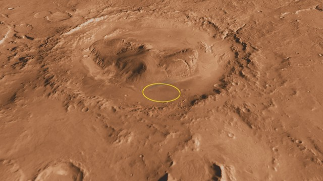 Gale Crater viewed from the south, with Curiosity's landing area highlighted. Methane appears to be coming from somewhere to the north.